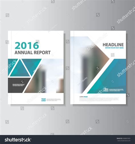 triangle blue vector annual report leaflet stock vector