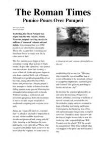 Non Chronological Report Template newspaper report on the eruption of mount vesuvius which