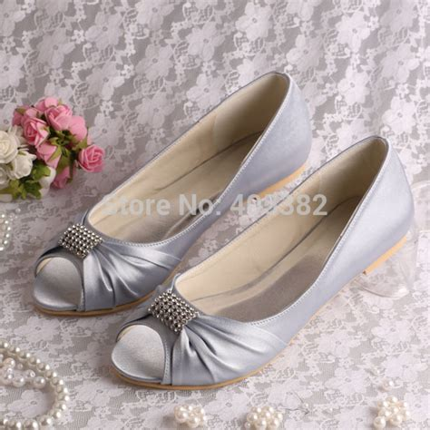 silver wedding flats shoes selling silver satin bridal wedding shoes ballet flats