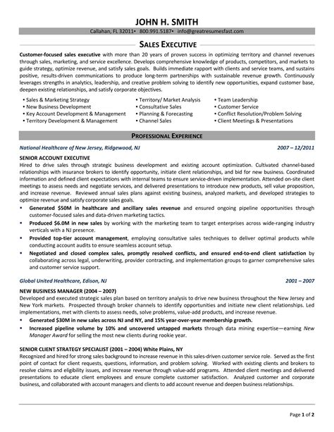 sle resume of sales manager executive resume executive resume templates sle resume