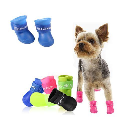 shoes for yorkies 4pcs lot shoes cat pet socks colors boots waterproof rubber pet
