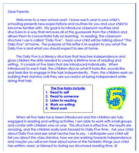 Parent Letter Introducing Daily 5 common math standards