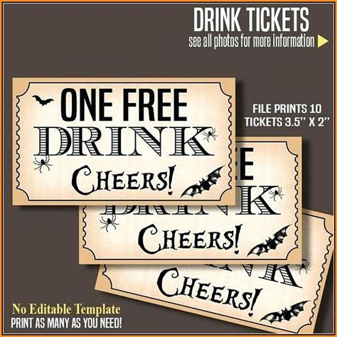 complimentary drink ticket template complimentary drink ticket template image collections