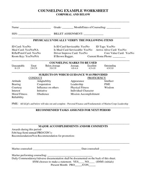 Counseling Worksheet Usmc by 15 Best Images Of Career Counseling Values Worksheet