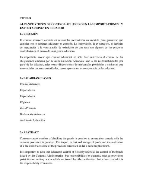 indice de un proyecto 8vo nivel scribdcom alcance y tipos de control aduanero en las importaciones y
