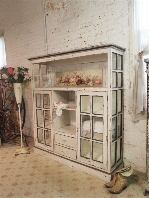 chippy shabby chic vintage cabinet from old windows by