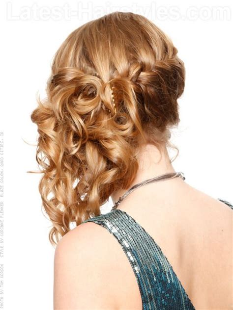 formal side french braid updo prom hairstyles to the side with a braids side swept