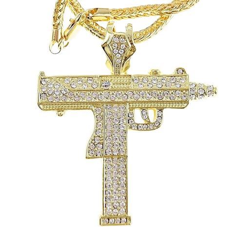 pendant l with chain uzi submachine machine gun iced out pendant gold finish