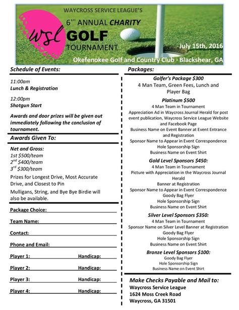 golf tournament registration form template 8 best golf