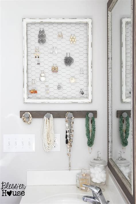 Rustic White Bathroom - diy rustic industrial jewelry organizer bless er house