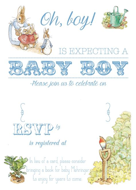 free printable peter rabbit baby shower invitation baby