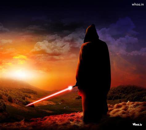 monochrome hooded man  lighting sword hd wallpaper