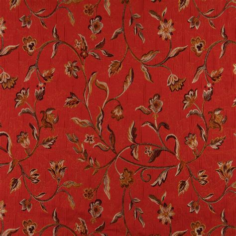 red floral upholstery fabric red brown gold ivory floral brocade upholstery fabric by