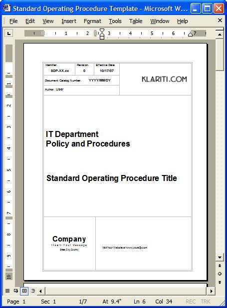 36 page standard operating procedure sop template ms