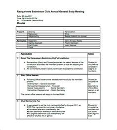 Minutes Of Meeting Template by Club Meeting Minutes Template 6 Free Sle Exle