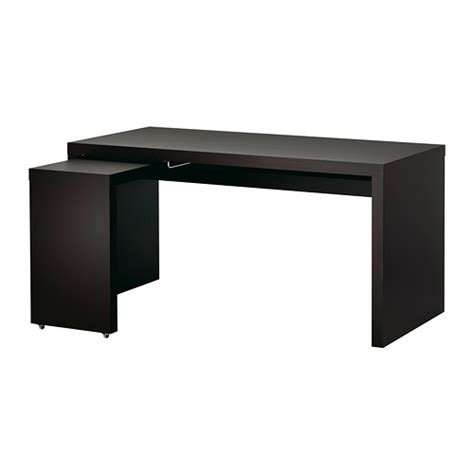 Malm Desk With Pull Out Panel Black Brown Ikea Pull Out Desk