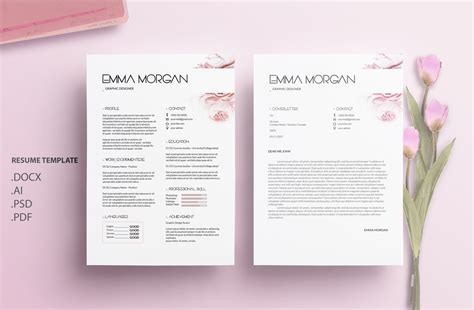 flower design resume oil paint flower resume template cv template