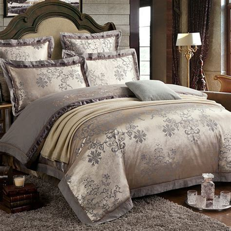 European Style Luxury Cotton Satin Jacquard Double 4 European Bedding Sets