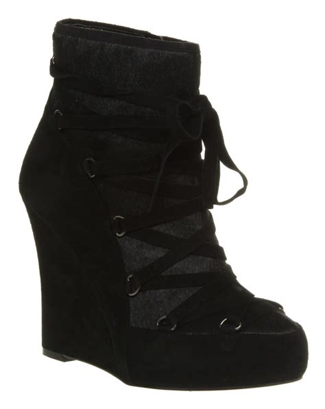 s office no snow black suede wedge ankle boots ebay