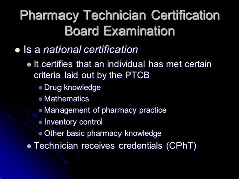 Pharmacy Board Certification by Pharmacy Technician Certification Board Ppt