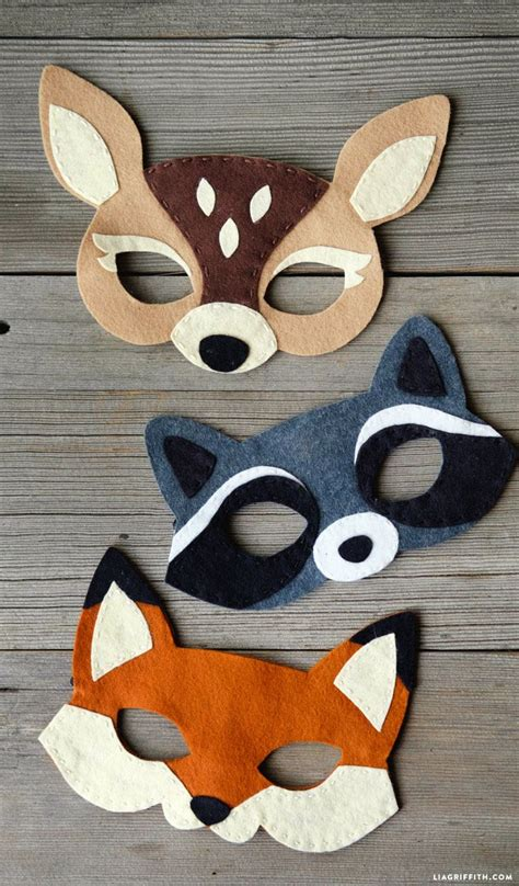felt woodland masks felt fabric   felt crafts diy felt crafts patterns felt diy