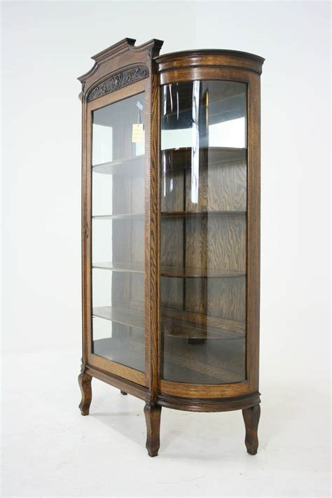 Antique American Tiger Oak Bow Front China, Display, Curio Cabinet at 1stdibs