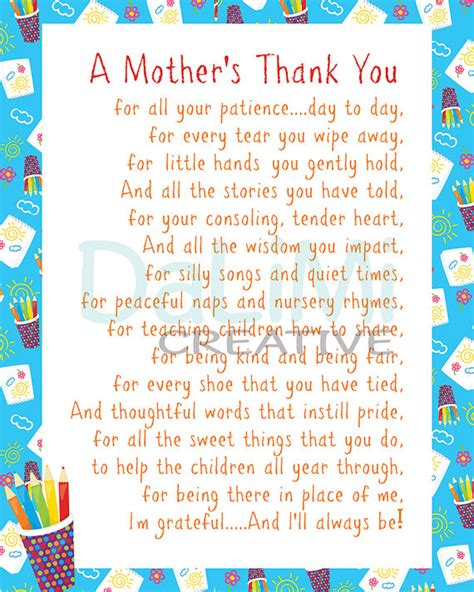 thank you letter to daycare parents appreciation print end of year teachers by