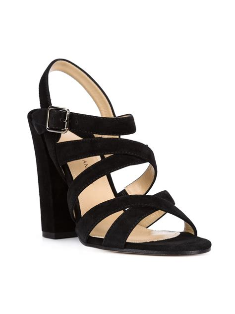 chunky heel sandals paul andrew strappy chunky heel sandals in black lyst