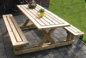 plans for picnic table with attached benches quick woodworking projects