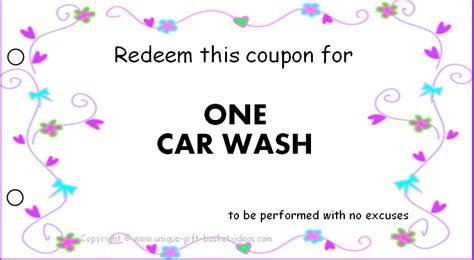 free car wash ticket template 18 best photos of diy gift basket ideas