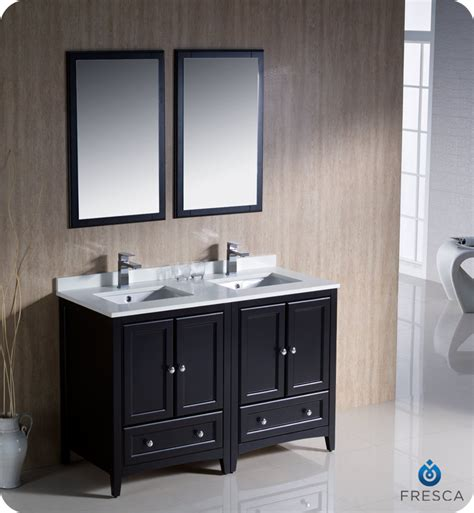 fresca oxford 48 quot double sink bathroom vanity espresso finish