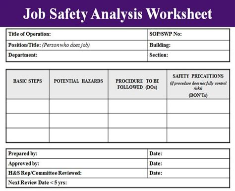 free jsa template safety analysis template excel project management