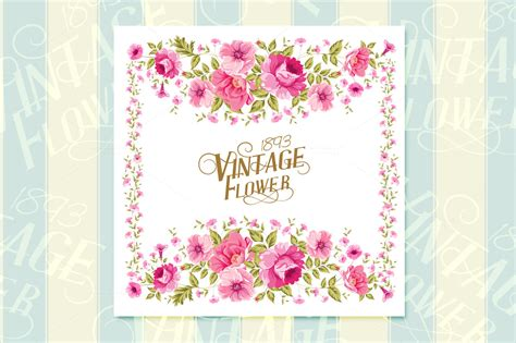 Card Flower Template by Vintage Flower Card Template Card Templates On Creative