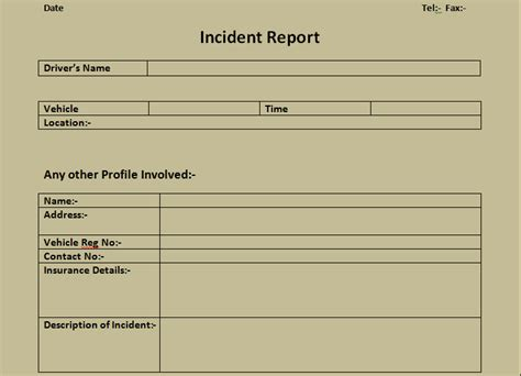 Incident Report Form Template Microsoft