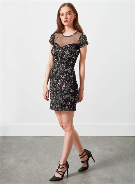 Miss Selfridge Embelished Dress miss selfridge fleur embellished bodycon dress in black lyst