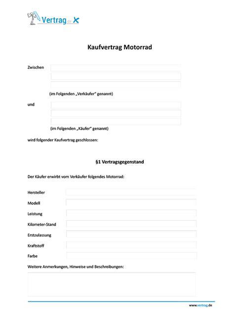 Kaufvertrag Motorrad Vorlage Kostenlos by Kaufvertrag F 252 R Ein Motorrad
