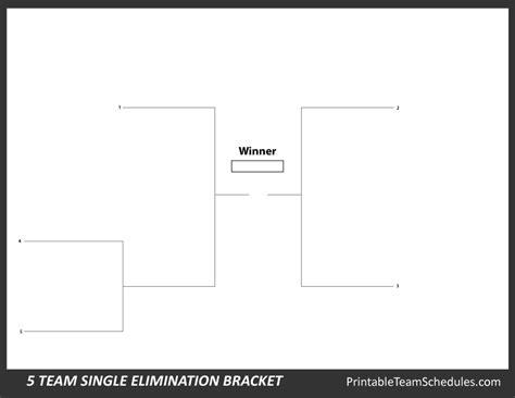 elimination tournament bracket template printable 5 team bracket single elimination tournament