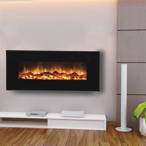 Electric Wall Fireplace Touchstone 80001 Onyx Contemporary Electric Wall Mounted Black Fireplace