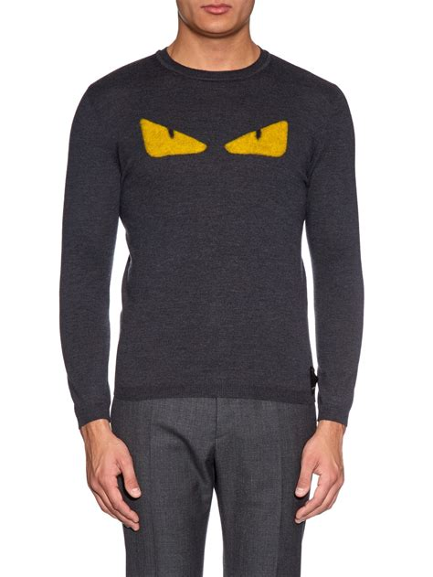 Fendi Sweater lyst fendi bag bugs wool sweater in gray for