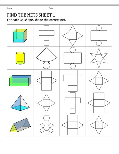 Www Homeschoolmath Net Worksheets by Shape Nets For Easy 3d Pattern Shapes Printable Shelter