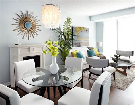 modern open concept condo dining and living room