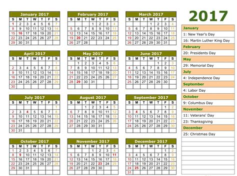 2017 printable calendar template holidays excel word