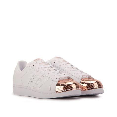 adidas superstar  metal toe white copper