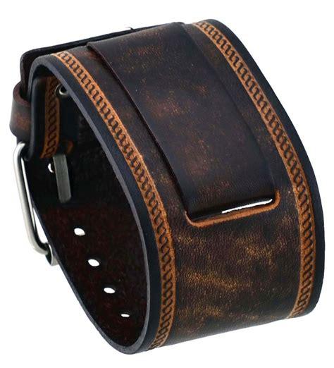 nemesis in bs 24mm lug width wide brown leather cuff wrist
