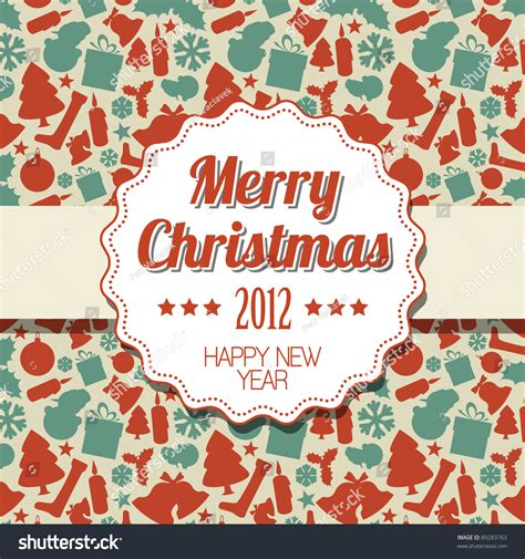 seasonal pattern en espanol vintage retro christmas label on seasonal pattern stock