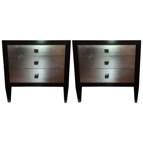 Silver Leaf Nightstand Chic Pair Of Ebonized And Silver Leaf Nightstands Or Side Tables At 1stdibs