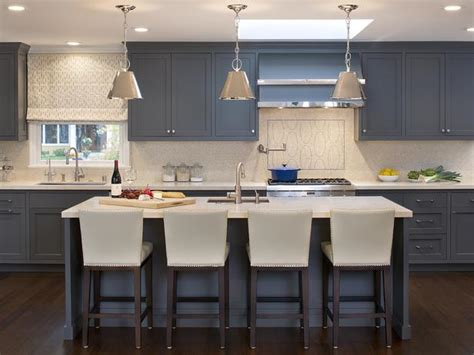 transitional kitchen boasts blue gray cabinetry hgtv