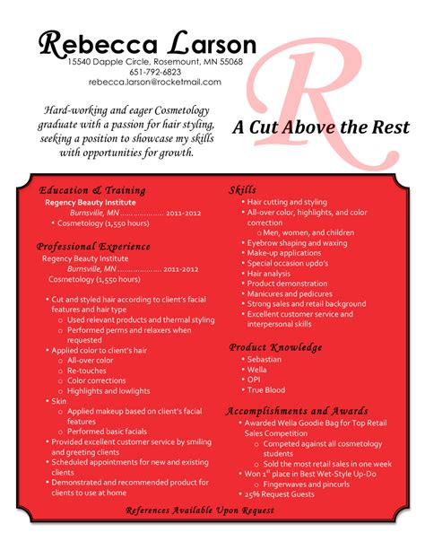 Cosmetology Student Resume by Hair Stylist Resume