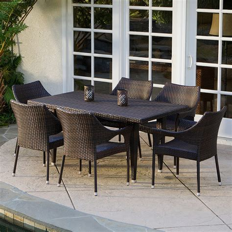 del mar 7 piece outdoor dining set modern landscape