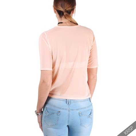 Flower Embroidered Sheer Top 1 new womens flower embroidered crop mesh see through sheer